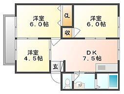 岡山県岡山市東区西大寺射越の賃貸アパートの間取り