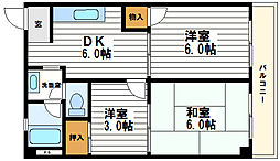大野ハイツ[4階]の間取り