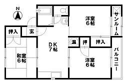セジュールMURAMOTO[207号室]の間取り