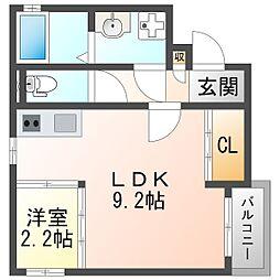 阪急神戸本線 神崎川駅 徒歩9分の賃貸アパート 1階1LDKの間取り