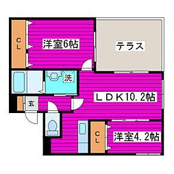 札幌市営南北線 麻生駅 徒歩12分の賃貸マンション 1階2LDKの間取り