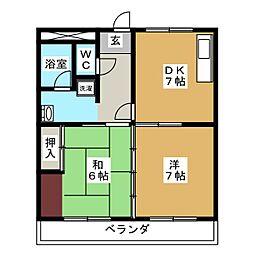 ウィズ三好ヶ丘[2階]の間取り
