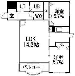 コンフォート中の島I[1階]の間取り