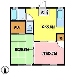 埼玉県さいたま市中央区八王子3の賃貸アパートの間取り