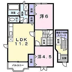 新潟県新潟市江南区亀田東町1丁目の賃貸アパートの間取り