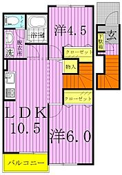 サニーヒルズK2[2階]の間取り