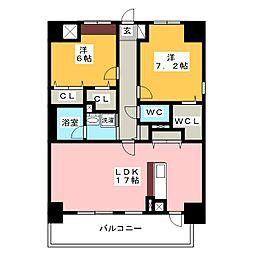 愛知県名古屋市昭和区広路通8丁目の賃貸マンションの間取り