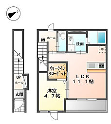 広島県福山市新涯町5丁目の賃貸アパートの間取り