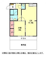 愛知県江南市尾崎町河原の賃貸アパートの間取り