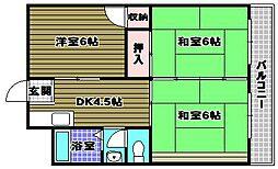 北野田マンション巽B棟[4階]の間取り