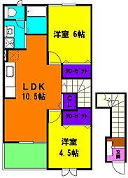 静岡県磐田市寺谷の賃貸アパートの間取り
