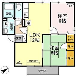 リッツハウス B棟[102号室]の間取り