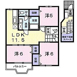 徳島県徳島市国府町和田字原淵の賃貸アパートの間取り