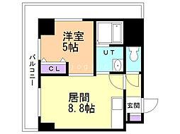 サンコート南6条 弐番館 8階1DKの間取り