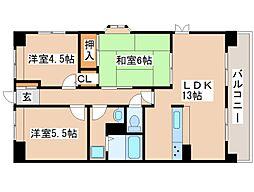 兵庫県明石市林3丁目の賃貸マンションの間取り