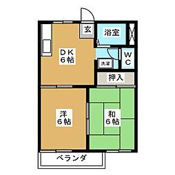 愛知県愛知郡東郷町北山台3丁目の賃貸アパートの間取り