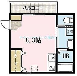 メルヴィーユ新横浜II A棟 1階ワンルームの間取り
