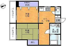 ドムール戸越[4階]の間取り