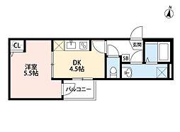 JR埼京線 与野本町駅 徒歩12分の賃貸アパート 1階1DKの間取り
