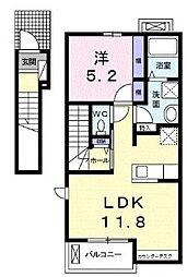 JR山陽本線 東尾道駅 徒歩25分の賃貸アパート 2階1LDKの間取り