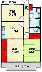 福岡県北九州市小倉南区上吉田1丁目の賃貸アパートの間取り