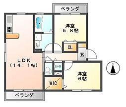 ルミエール西古室[2階]の間取り