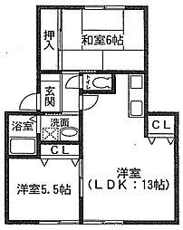 ゼクステット元禄橋[1階]の間取り