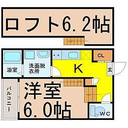 名古屋市営桜通線 中村区役所駅 徒歩7分の賃貸アパート 2階1SKの間取り