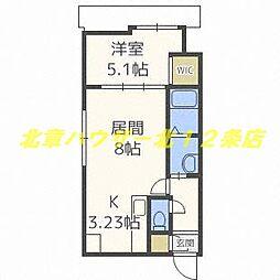 札幌市電2系統 中央区役所前駅 徒歩2分の賃貸マンション 5階1LDKの間取り