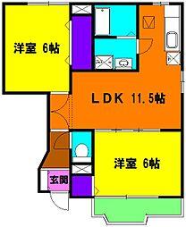 静岡県磐田市三ケ野台の賃貸アパートの間取り
