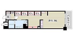 JR東海道・山陽本線 姫路駅 バス10分 元町3丁目下車 徒歩4分の賃貸マンション 8階1Kの間取り