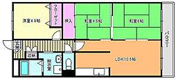 大阪府大阪市東住吉区矢田1丁目の賃貸マンションの間取り