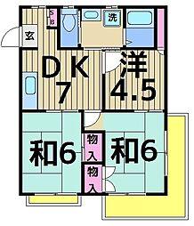 松風苑ハイツ[201号室]の間取り