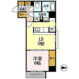 カスタリア栄 9階1LDKの間取り