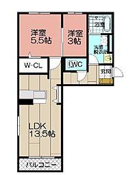 D-room 平尾山荘通り[203号室]の間取り