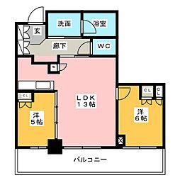 プラウドタワー名古屋栄[8階]の間取り