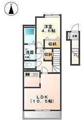 愛媛県松山市枝松5丁目の賃貸アパートの間取り