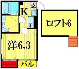 埼玉県越谷市神明町2丁目の賃貸アパートの間取り