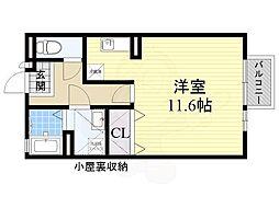 大阪モノレール本線 南摂津駅 3.7kmの賃貸アパート 2階1Kの間取り