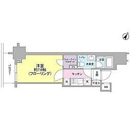 JR山手線 目黒駅 徒歩10分の賃貸マンション 12階1Kの間取り