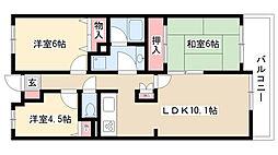 愛知県名古屋市昭和区山手通2丁目の賃貸マンションの間取り