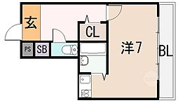 イヌーボ小若江[3階]の間取り