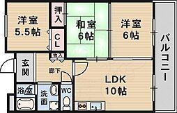 北大阪急行電鉄 緑地公園駅 徒歩7分の賃貸マンション 5階3LDKの間取り