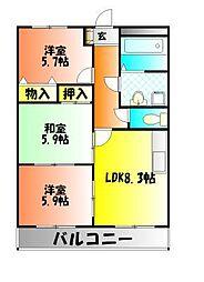 岡山県岡山市北区谷万成1丁目の賃貸マンションの間取り