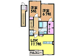 愛媛県松山市水泥町の賃貸アパートの間取り