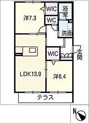 仮)JA賃貸豊田市緑ヶ丘 1階2SLDKの間取り