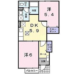 大阪府大東市北条5丁目の賃貸アパートの間取り