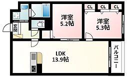 北大阪急行電鉄 緑地公園駅 徒歩17分の賃貸アパート 3階2LDKの間取り