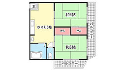 第二横田マンション[401号室]の間取り
