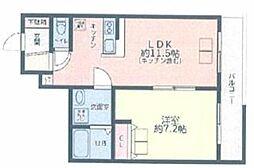 The Well Mejiro 地下1階1LDKの間取り